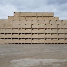 Anordnung von Holzkisten zur Lagerung, Zwangsbelüftung
