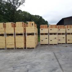 Holzkisten zur Lagerung von Orangen