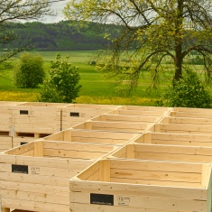 Wooden boxes for apples and pears