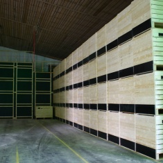 Wooden constructions for special ventilation systems with wooden boxes for forced ventilation